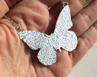 Butterfly Necklace - Sterling Silver Hammered Butterfly - Handcrafted Butterfly Necklace-17 inch length