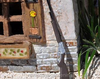 Metal Rifle for Miniature Garden, Fairy Garden