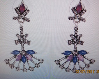 Vintage Inspired drop Earrings, Pink, blue and crystal earrings