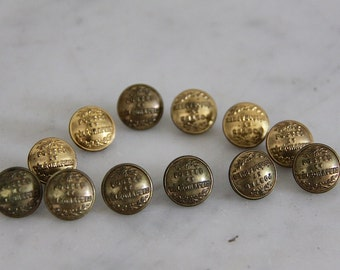 Antique French Buttons, 1800s Postal Uniform Buttons, Parisian, Sewing Supplies, Seamstress, Deep Buttoning, Embossed Brass Uniform Buttons