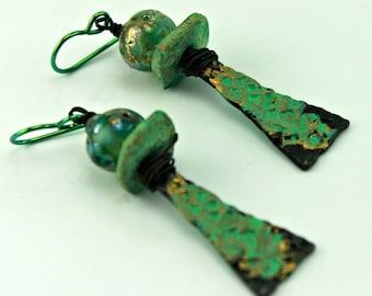 Green Rustic Earrings, Rustic Boho Earrings, Bohemian Earrings, Ethnic Earrings, Tribal Earrings, Earrings for Him or Her, #1007