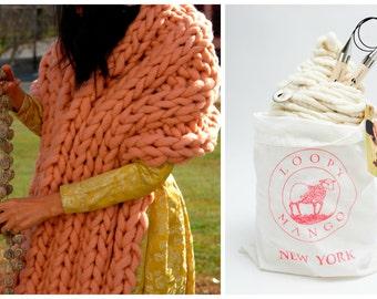 Loopy Mango DIY Kit - Nantucket Wrap - Super Chunky Merino Wool