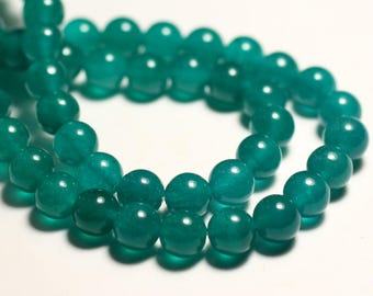 10pc - beads - Jade balls 8mm blue green Peacock duck - 8741140016064