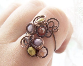 wire ring tutorial, wire wrapping copper tutorial, DIY, wire jewelry tutorial 44