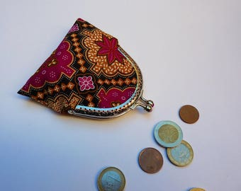 Fabric wallet vintage ethnic fuchsia and gold