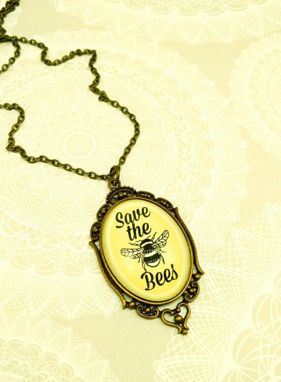 Sunny SAVE THE BEES- Bronze and yellow 30x40mm glass cameo Save The Bees pendant necklace
