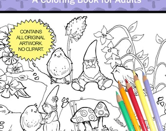The Garden Gnomes - Coloring Book for Adults - by Chroma Tomes