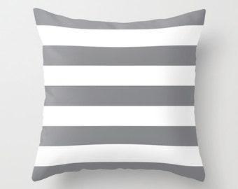 Stripes Pillow  - Striped Pillow - Gray and White Stripes Pillow  - Modern Throw Pillow - Home Decor - By Aldari Home