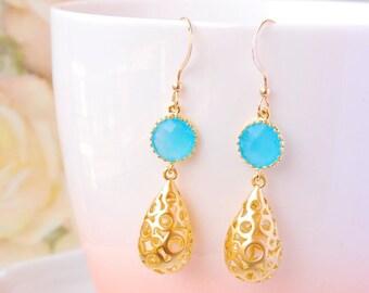 Mint Green Wedding Earrings Gold Teardrop Earrings Filigree Earrings Aqua Blue Mint Wedding Jewelry For Bride Earrings Pacific Opal Earrings