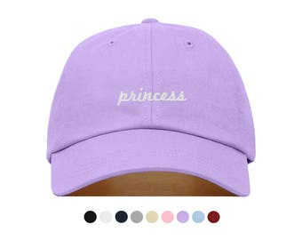 PRINCESS Baseball Hat, Embroidered Dad Cap, Queen Royalty Castle Girly Customizable Hat, Unstructured Low-Profile, Adjustable Strap Back
