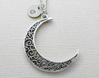 Moon Necklace, Crescent Moon Jewelry, Lunar, Love, BFF, Friend Birthday Gift, Silver Initial, Personalized, Monogram, Hand Stamped Letter