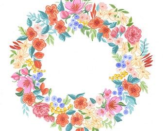 Pretty Floral Wreath painting, Floral Illustration, Spring Floral, Pink and Apricot Floral, Spring painting, Nursery painting, Flowers paint
