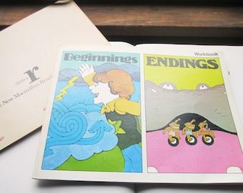 1975 Children's Vintage Workbooks, Pop Art Kids, Retro Study Tests, School Teachers, Art Books, Colorful friendly Kids Workbooks