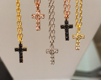 Tiny Cross Necklaces, Beautifully Pave with Sparkly Cubic Zirconia, Women and Young Girls Alike will Love This Minimalist Cross Statement