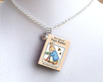 Peter Rabbit with tiny Heart Charm - Miniature Book Necklace
