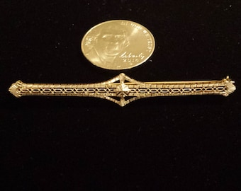 14K Yellow and White Gold Victorian Pin Brooch
