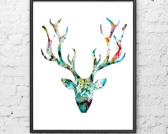 Deer art print, watercolor painting deer head, deer painting, modern wall art, minimalist decor, scandinavian art - 31