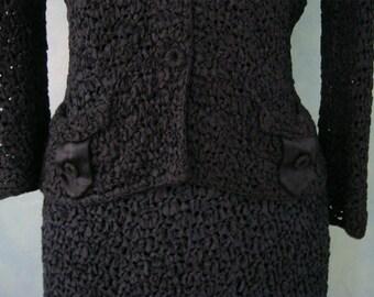 1950s Ribbon Knit Suit  - Wedding Suit - Crocheted Suit