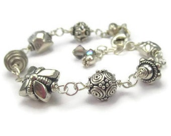 Bali Bead Bracelet in Solid Sterling Silver Hand Linked Mixed Beads