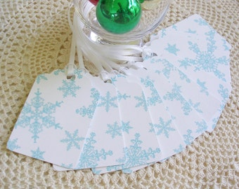 Blue Snowflake Christmas Tags - Christmas Gift Tags - Double Layer Set of 10 - Holiday Package Decorations