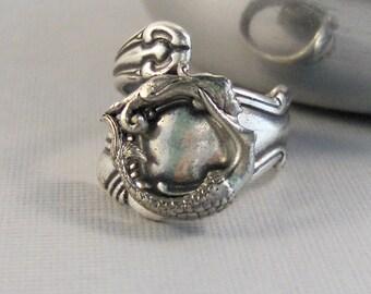 Siren Song,Ring,Mermaid Ring,Mermaid Jewelry,Mermaid,Ocean jewelry,Nautical Ring,Mermaid in Handmade,Silver Mermaid,Mermaid Spoon Ring