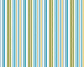 Aqua Yellow  Green Stripe Cotton Fabric in Half and 1/4 Fine and Dandy by Lori Whitlock for Quilting Sewing Applique by Riley Blake