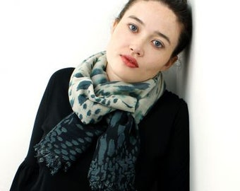 Scarf - Gray And Green Leopard Print Scarf, Gift For Her, Free Shipping, 50680