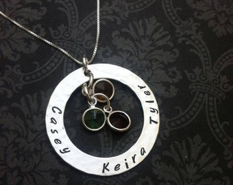 Hand Stamped Necklace LARGE MOTHERS RING with Swarovski BIrth stones  for Mom or Grandma