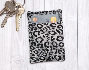 Slim card wallet - Black and white animal print - Fabric credit card wallet - Credit card case - Business card case - Leopard print wallet