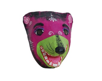 Mexican Paper Mache Bear Animal Mask Hand Painted