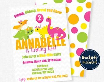 Dinosaur Birthday Invitation, Dinosaur Invitation, Dinosaur Birthday Party Invitation, Girl Dinosaur Invitation
