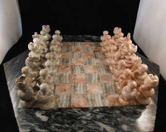 Chess set made out of stone