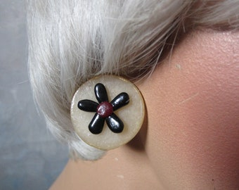 Flower Earrings Round Post Button Earrings Black and White