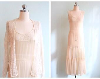 Vintage 1930s Ivory Chiffon and Lace Dress Set | Size Small