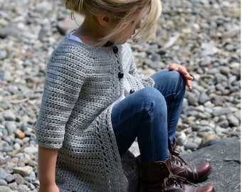 CROCHET PATTERN-The Cairbre Cardigan (2/3, 4/5, 6/7, 8/9, 10/11 years)