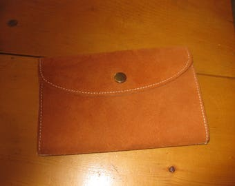 Vtg Rawhide Suede snap front wallet 3 compartment snap coin section checkbook and bills new never used vintage free ship
