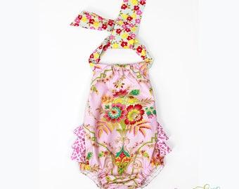 TILLY DAMASK Ruffle Butt Baby Romper, Vintage Styled Baby Girl Sunsuit, Ruffle Butt Baby Girl Romper, Baby Girl Gift