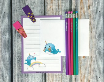 Stationery Set - noteworthy narwhal - letter writing