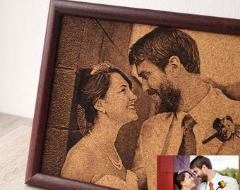 Custom engraved photograph, personalized framed picture laser engraved cork picture, wedding, anniversay gift, engraved picture