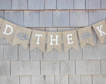 Tied the Knot Banner, Just Married Burlap Banner, Nautical, Wedding Banner, Bridal Shower Decor, Burlap Garland, Beach Wedding, Photo Prop