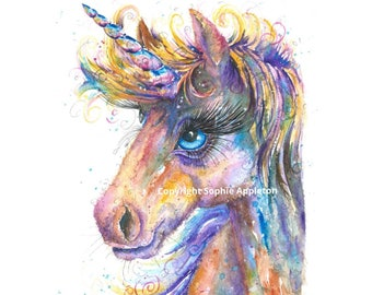 Art Unicorn Magic - A4 Watercolour Painting printed on watercolor paper, each is hand signed by Sophie Appleton