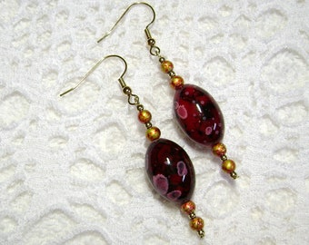 Artsy Earrings - Cherry Red Earrings - Red And Black Jewelry - Dangle Earring - E192