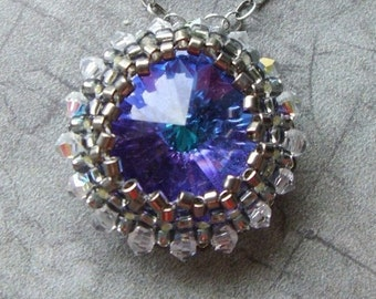 Beaded Swarovski 18mm Rivoli Necklace Blue Heliotrope