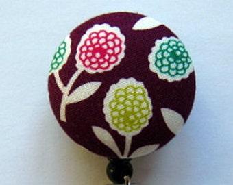 ID Badge Holder - Badge Reel - Name Badge Holder - Retractable Badge Reel -  Floral Design - Nurse Gift - Fabric Badge Reel