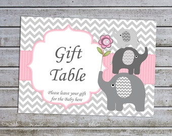 Elephant Girl Baby Shower Gift Table Sign Decor (50a) Instant Download