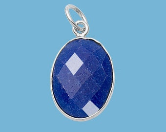 Sapphire Oval Pendant, Faceted, Sterling Silver, 1-ring, 13x16mm, September birthstone, Blue Sapphire, Earring Drop