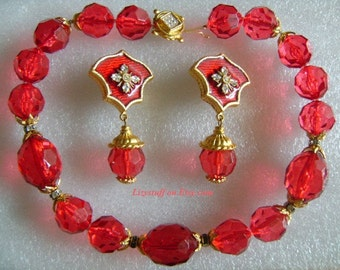 GERARD YOSCA Super Sexy Red Cherry or Ruby Color Chunky Briolette Cut Faceted Crystal Glass Beads Necklace&Golden Rhinestone Enamel Earrings