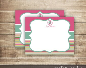 Monogram Flat Note Card / Personalized Stationery / Custom Monogram Thank You Note Card - Printable