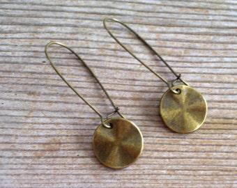 Antiqued Brass Disc Earrings, Brass Earrings, Modernist Earrings, Minimalist Earrings, Wavy Disc Pierced Dangle Earrings