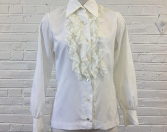 1970s Ivory Blouse with Lace Ruffles, size S